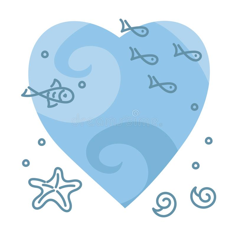 Doodle hand drawing illustration. Underwater world, Sea, ocean,river , plants and fish on the background of blue heart. Vector vector illustration