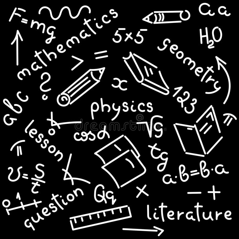 Doodle hand-drawing. Names of school subjects, formulas, books, notebooks, pencils. Background. Doodle hand-drawing. Names of school subjects, formulas, books royalty free illustration