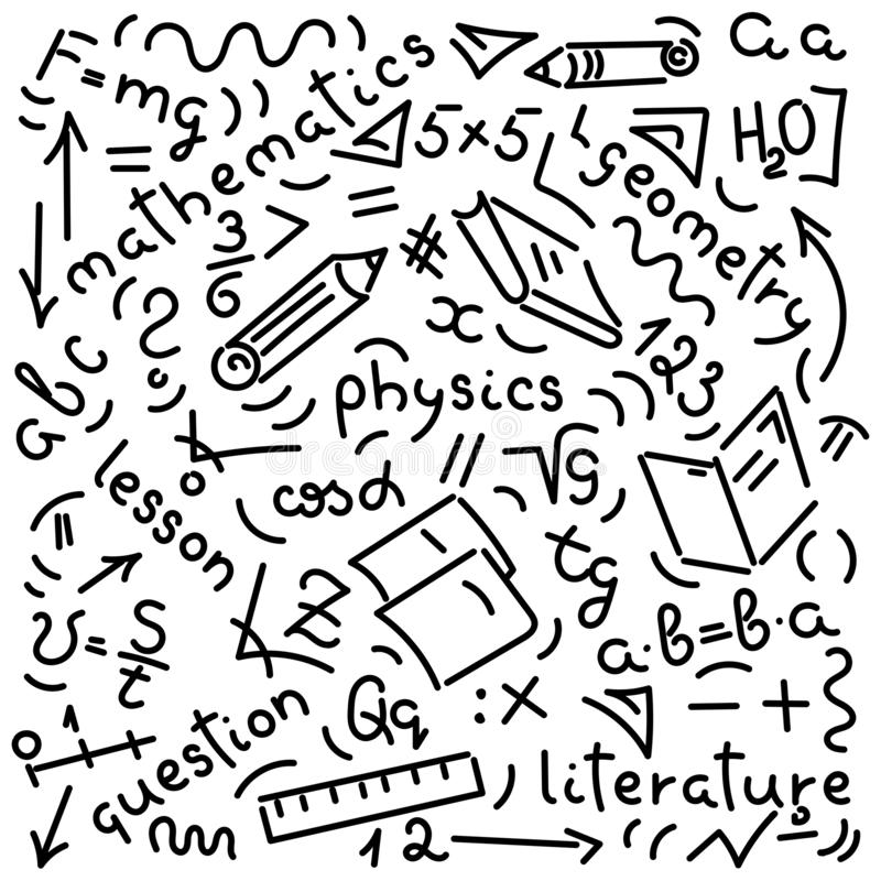 Doodle hand-drawing. Names of school subjects, formulas, books, notebooks, pencils. Background vector illustration