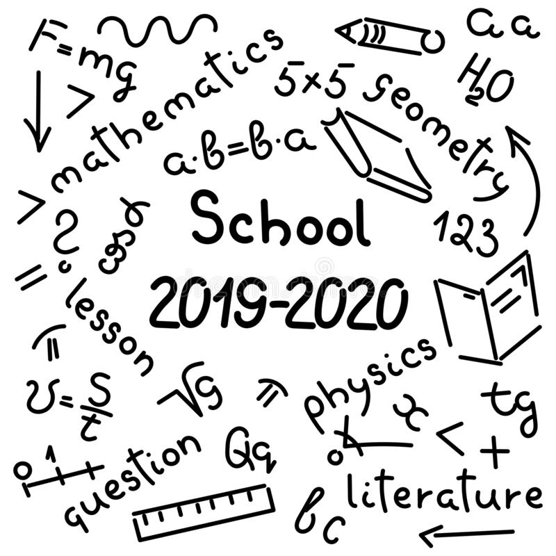 Doodle hand-drawing. Names of school subjects, formulas, books, notebooks, pencils. Background. Vector. Doodle hand-drawing. Names of school subjects, formulas vector illustration