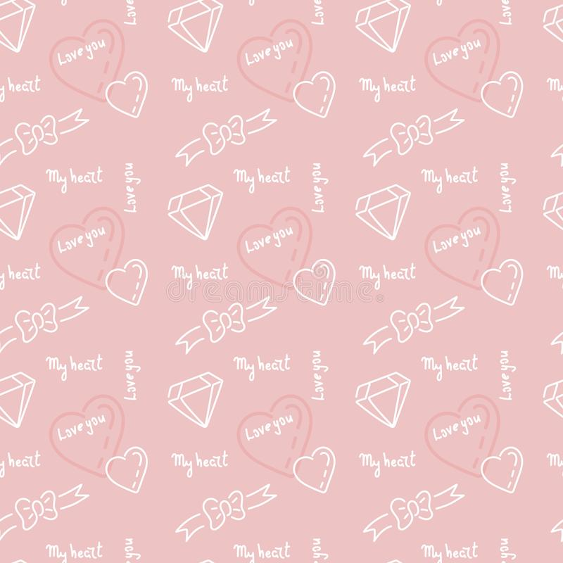 Doodle hand drawing seamless pattern. Words, phrases about love, hearts ribbons, bows, diamonds . White drawing on a delicate pink stock illustration