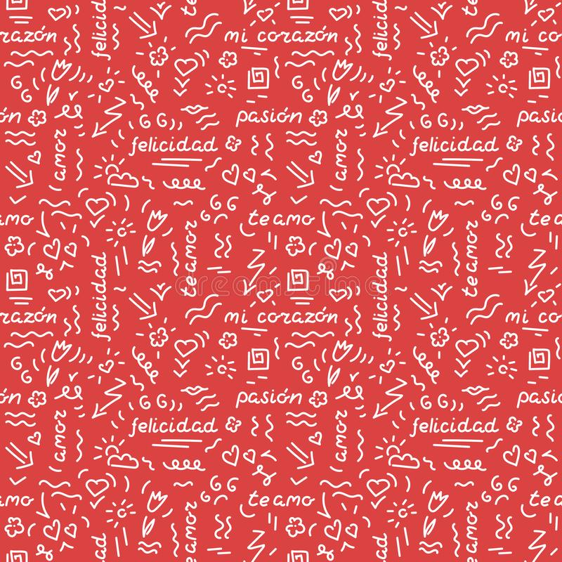 Doodle hand drawing seamless pattern. Words, phrases of love in Spanish, hearts, arrows, flowers, squiggles on a red royalty free illustration