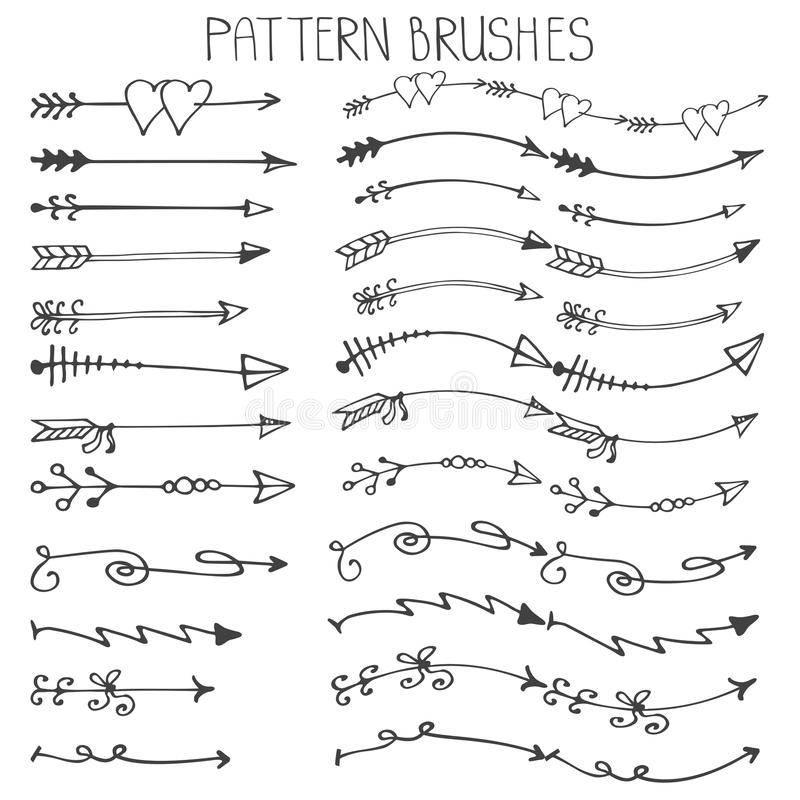 Doodle Hand Drawn Arrows Brushes SetValentines Stock