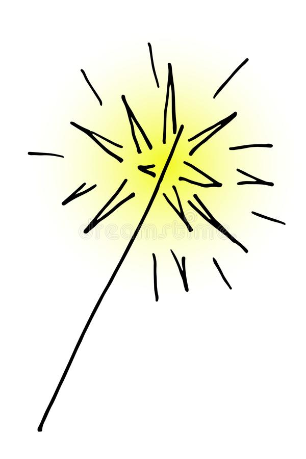 Doodle hand drawn burning christmas sparkler vector illustration