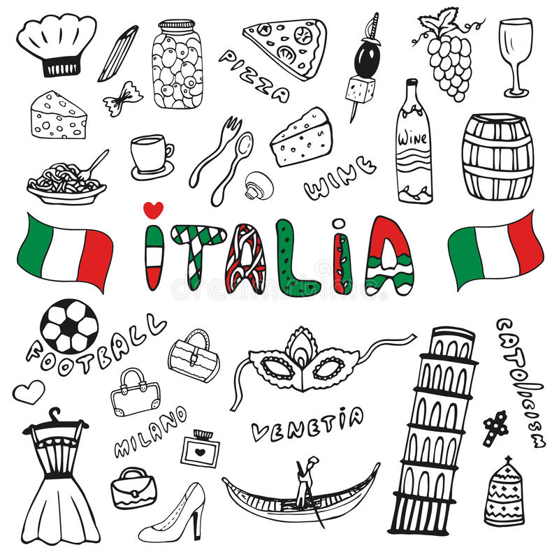 Doodle hand drawn collection of Italy icons. Italy culture elements for design. Vector travel set. Handwriting Italia lettering in vector illustration