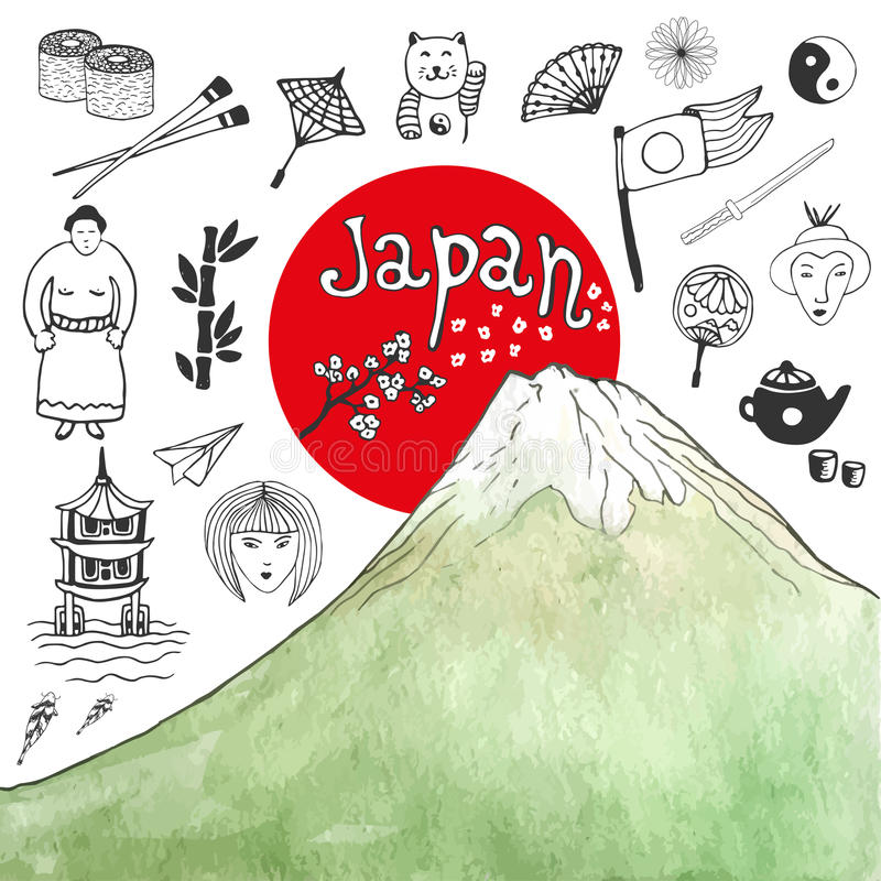 Doodle hand drawn collection of Japan icons with watercolor mountain. Japan culture elements for design. Vector illustration. royalty free illustration