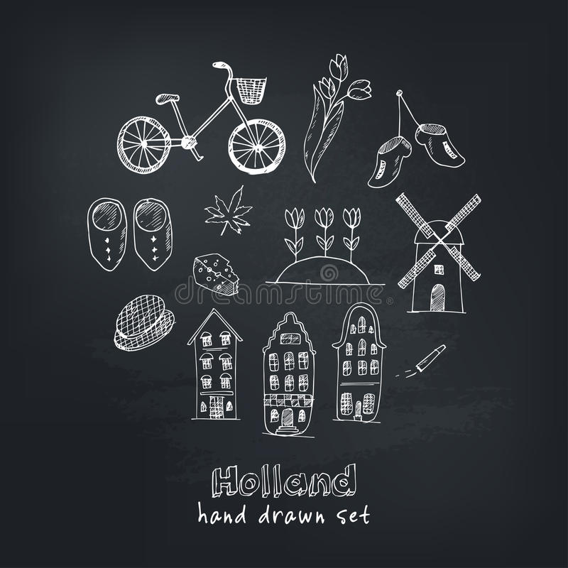 Free Doodle Hand Drawn Collection Of Holland Icons. Netherlands Culture Elements For Design. Vector Illustration Travel Stock Photography - 85038062