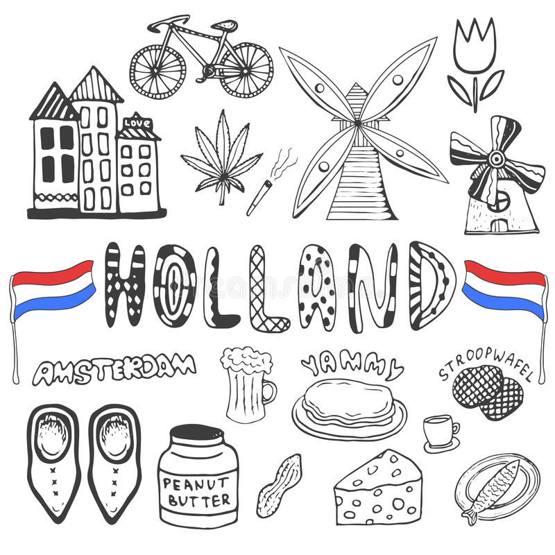 Free Doodle Hand Drawn Collection Of Holland Icons. Netherlands Culture Elements For Design. Vector Illustration With Travel Objects. Stock Image - 55199841