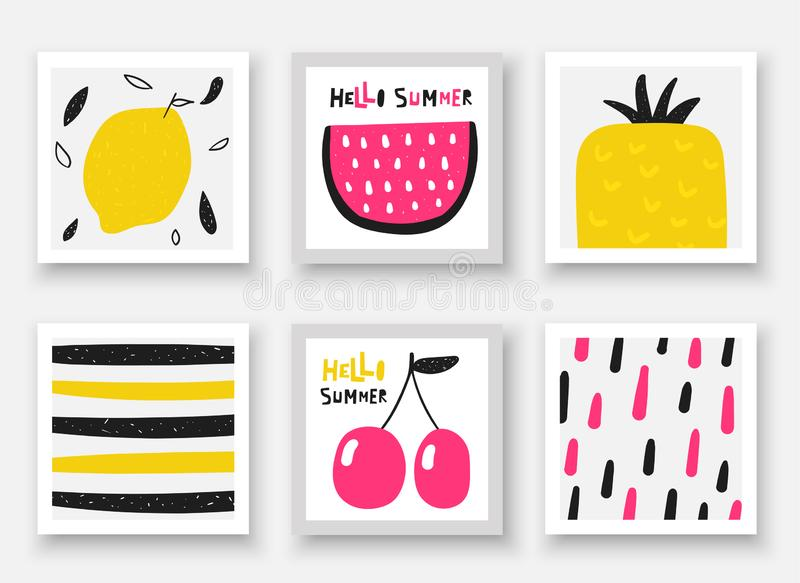 Doodle hand drawn fruits collection. Summer cards, tags, frames with watermelon, cherry, pineapple, lemon vector illustration