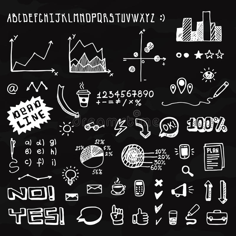 Doodle hand drawn info graphic elements and font vector illustration