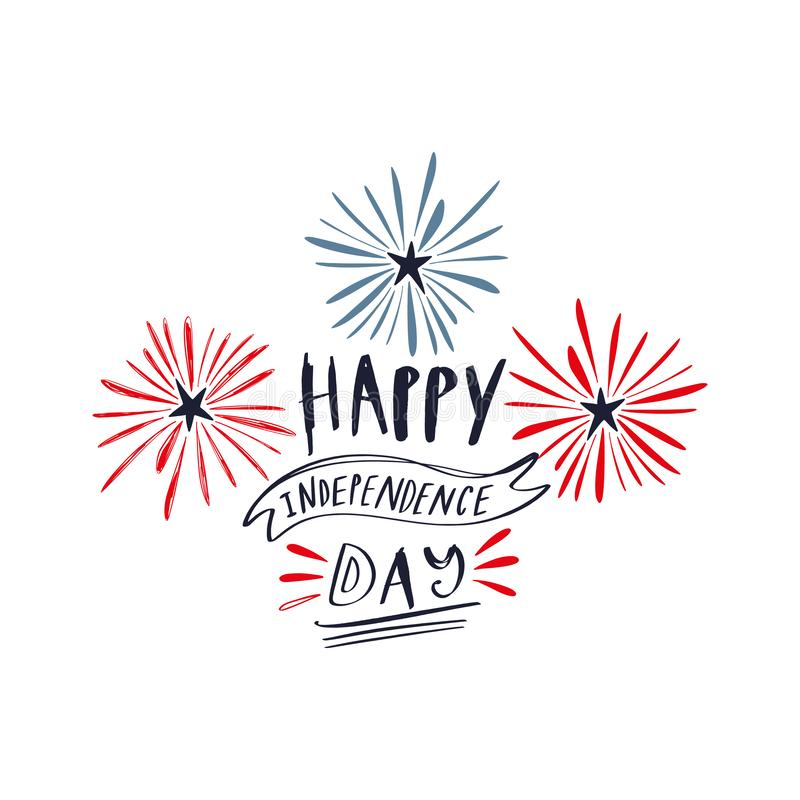 Doodle hand drawn lettering poster or card with shooting stars firework, celebrate USA holiday Independence day, fourth July. American flag colors. Congrats stock illustration