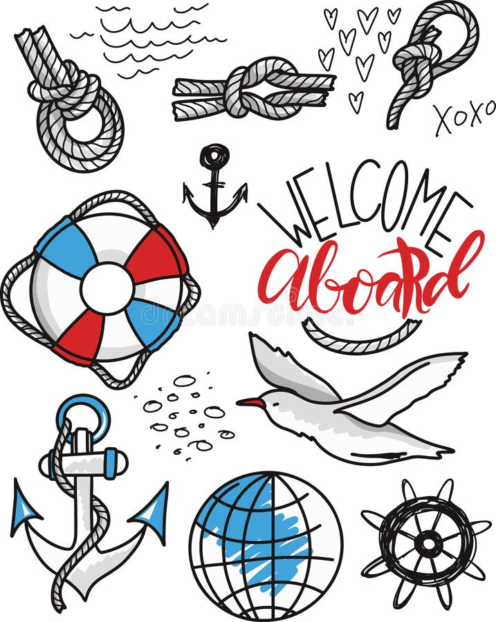 Doodle hand drawn nautical decor set. Graphic design elements. Vector illustration royalty free illustration