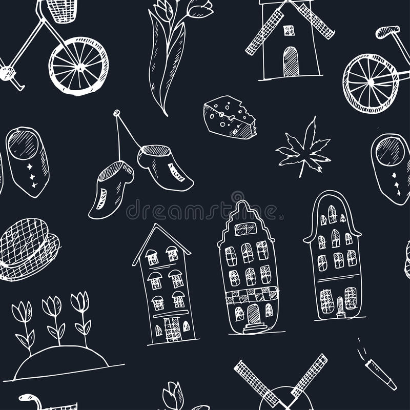Doodle hand drawn seamless pattern Holland icons. Netherlands culture elements for design. Vector illustration travel. Doodle hand drawn seamless pattern Holland vector illustration