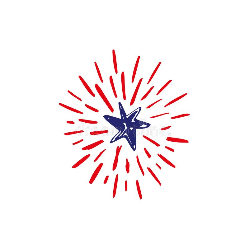 Doodle hand drawn shooting star firework, celebrate USA holiday Independence day, fourth July. American flag colors. Congrats, 4th. Of July. Vector illustration vector illustration