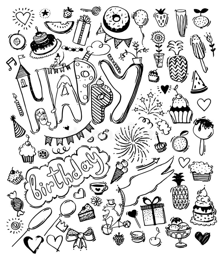 Doodle hand drawn sketch, set of happy birthday design elements. Fruit, cake, balloons, holiday decorations. stock illustration