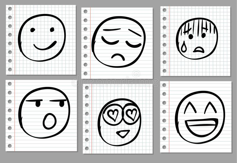 Doodle hand drawn smiles on notebook page. VECTOR. Black royalty free illustration