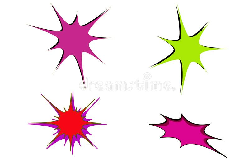Doodle hand drawn star burst icon on white background. Illustration design stock photography