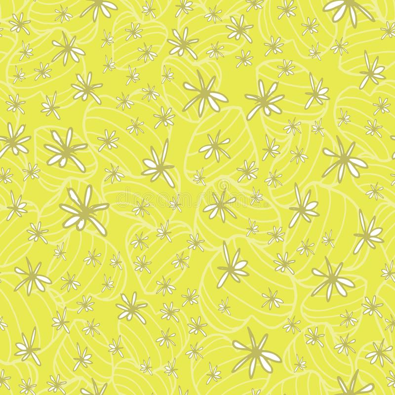 Doodle hand drawn white flowers placed on a subtle pattern of striped bouncy hearts in a fresh green yellow tone. Seamless vector. Pattern. Ideal for home decor vector illustration