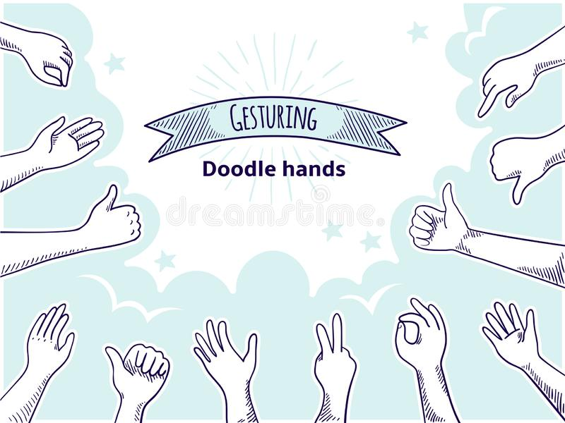 Doodle hands like dislike. Happy client hand drawn concept, thumb up and disagree business sketch. Vector customer. Doodle hands like dislike. Happy client hand vector illustration