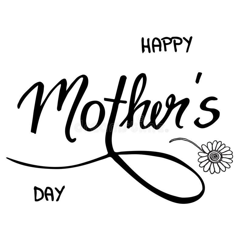 Doodle handwritten text Happy mother`s day, with flowers - vecto stock illustration