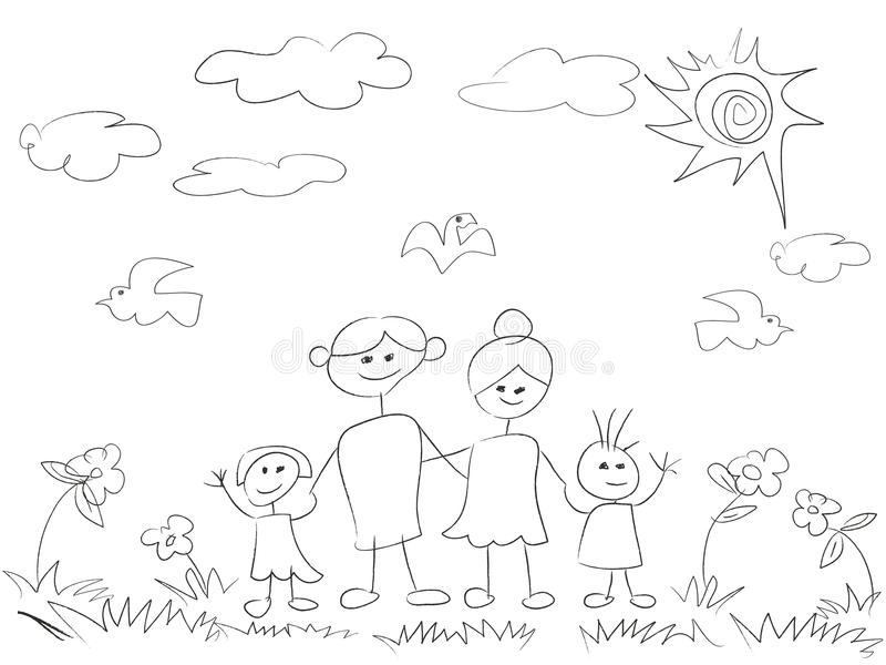 Doodle happy family background stock illustration