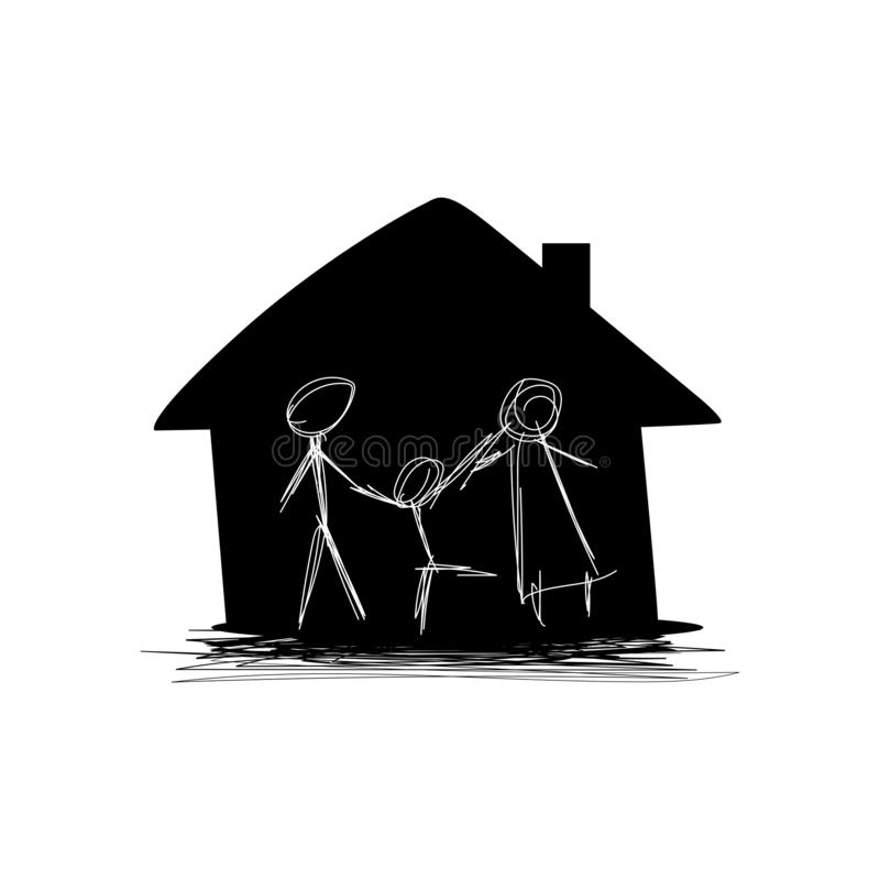 Doodle happy family in home stock images