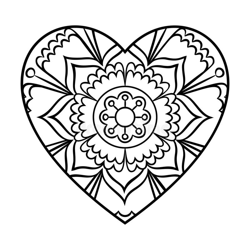 Doodle heart mandala stock vector illustration of for Heart shaped coloring pages