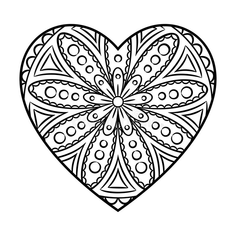 heart shape coloring pages | Doodle Heart Mandala stock vector. Illustration of ...