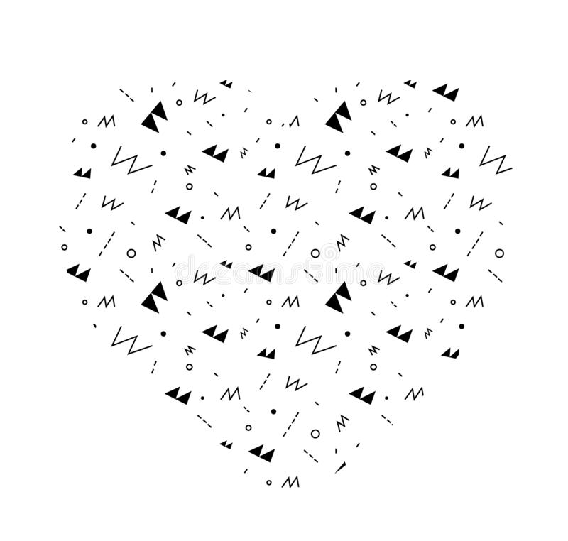 Doodle heart shaped pattern. Simple minimalistic background with various elements. royalty free illustration