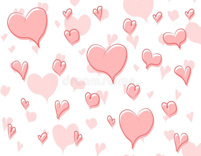 Doodle Hearts Background Pattern 3 vector illustration