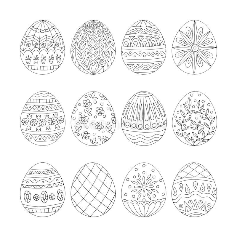 Doodle hearts with easter eggs for coloring books. Hand drawn doodle easter eggs with patterns, for coloring books vector illustration