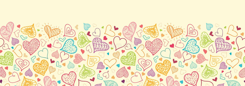 Doodle Hearts Horizontal Seamless Pattern vector illustration