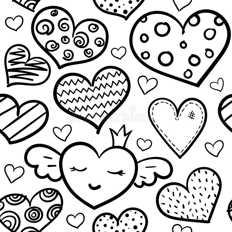 Doodle hearts seamless pattern. Doodle romantic seamless pattern. Black and white marker hearts. Valentines Day vector design concept for fashion textile print stock illustration