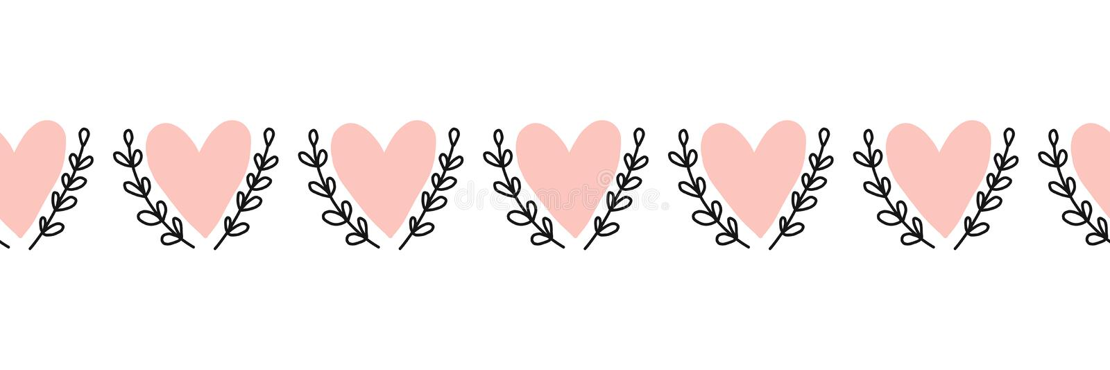 Doodle Hearts seamless vector border hand drawn. Pink heart shapes between leaf branches. Use for Valentines day, card.  stock illustration