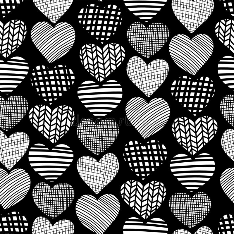 Hearts hand drawn seamless vector pattern. White heart shapes on black background. Monochrome design. Textured hearts backdrop. stock illustration