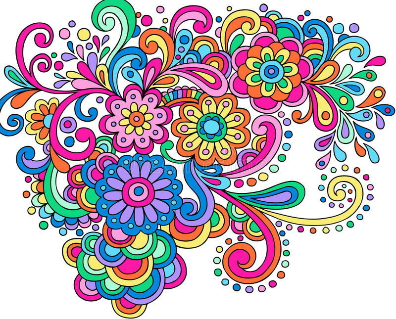 Doodle Henna Abstract Flowers and Swirls Vector royalty free illustration