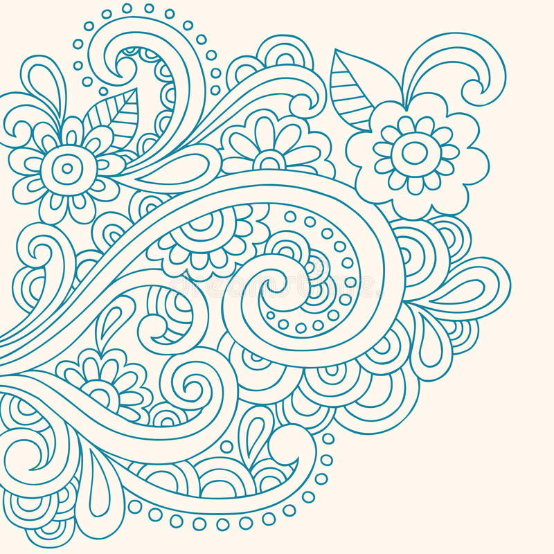 Doodle Henna Abstract Flowers and Swirls Vector vector illustration