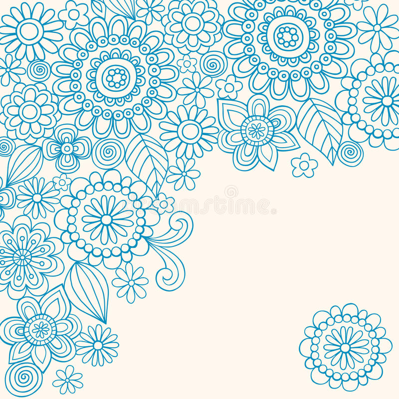 Doodle Henna Abstract Flowers Vector vector illustration