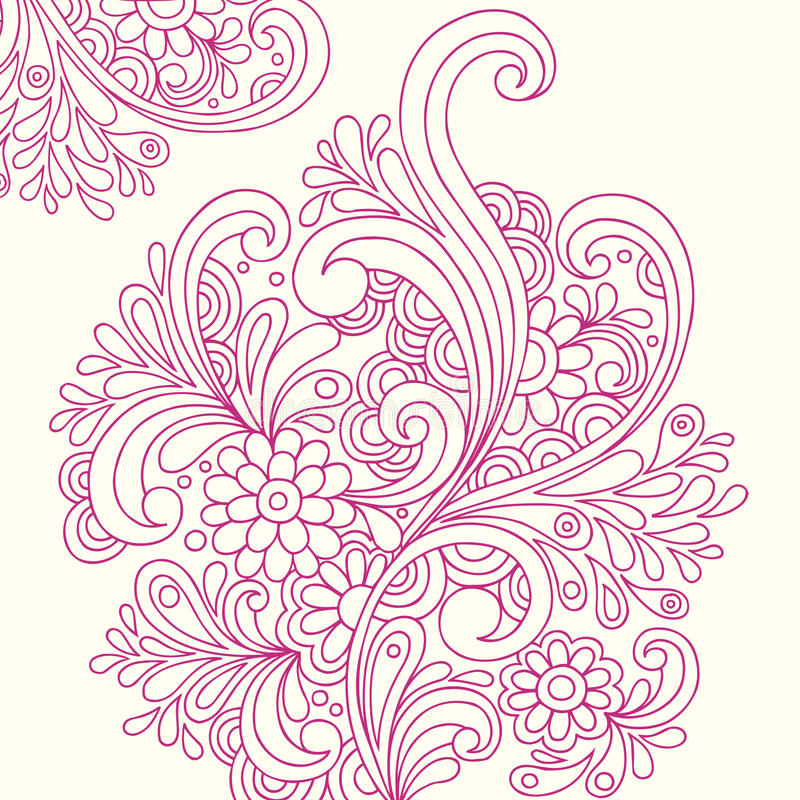 Doodle Henna Abstract Flowers Vector Stock Photo