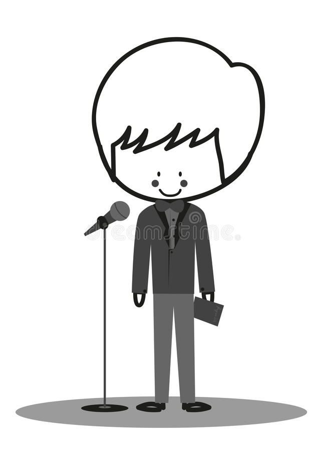 Doodle Host Announcer. Announcer standing in front of microphone stock illustration
