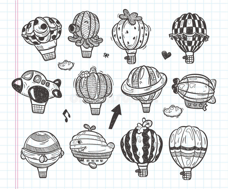 Download Doodle Hot Air Balloon Icon Stock Illustration - Illustration: 32940766