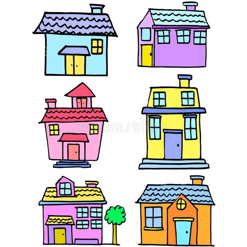 Doodle house style set collection stock illustration