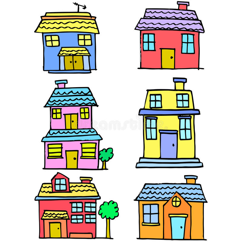 Doodle of house style various set vector illustration