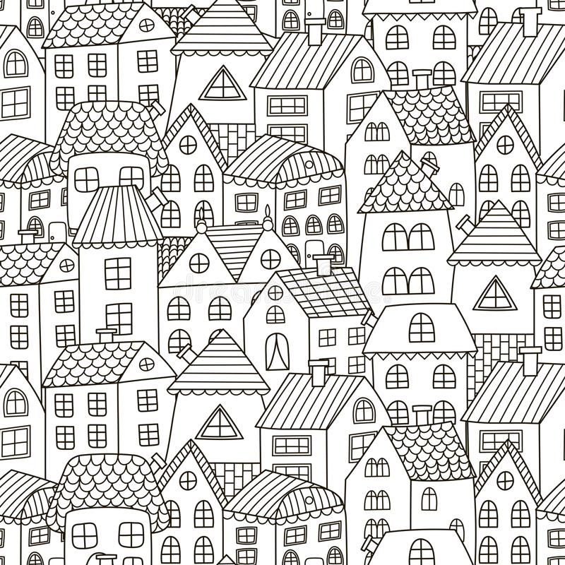Doodle houses seamless pattern. Black and white city background stock illustration