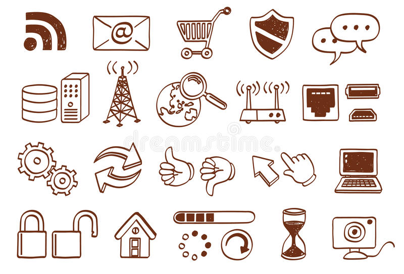 Download Doodle icon set stock vector. Illustration of internet - 20316063
