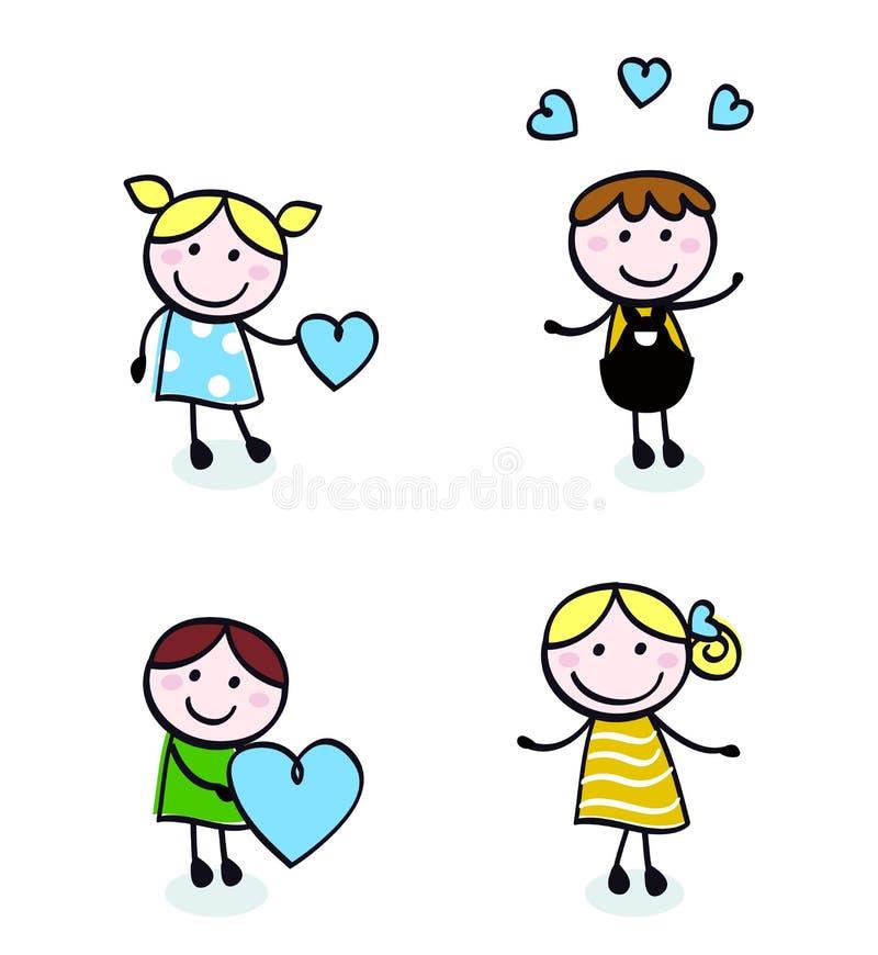 doodle ikon dzieciaków miłości retro ścieg ilustracji