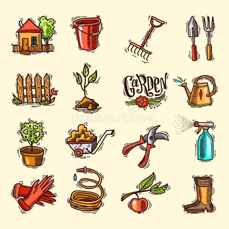 Doodle ikon ogród ilustracji