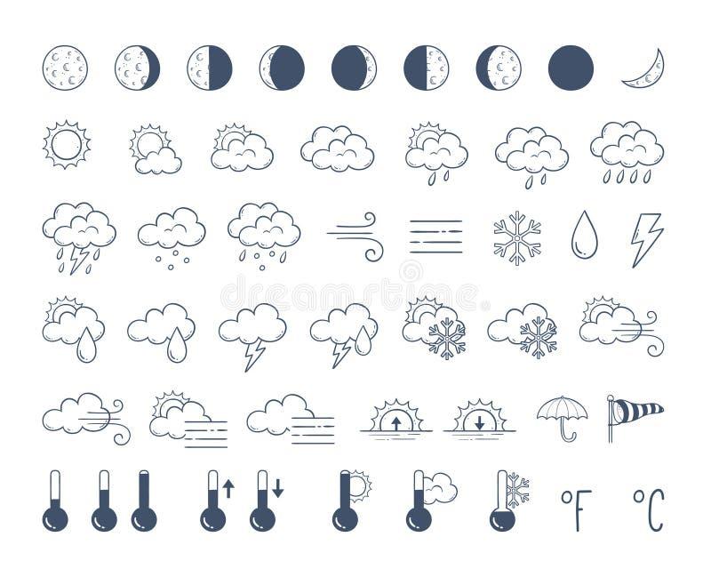 Doodle ikon pogodowa paczka Ręka rysujący ikona set royalty ilustracja