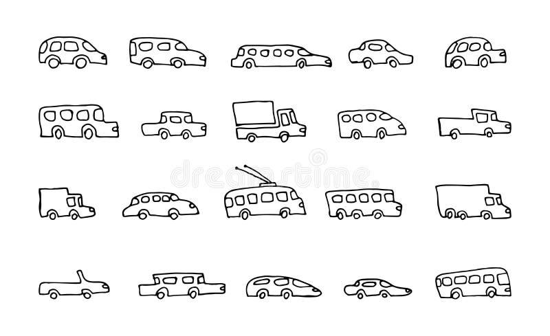 Doodle ikon wektoru przewieziony samochodowy set ilustracja wektor