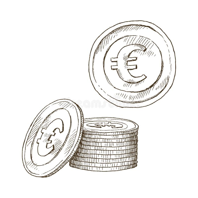Doodle ikony monety na odosobnionym białym tle pieniądze euro Symbole waluty w ręka rysującym nakreśleniu projektują ilustracji